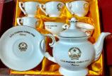 Bộ ấm trà gốm sứ bát tràng quà tặng in logo giá rẻ ở Đà Nẵng