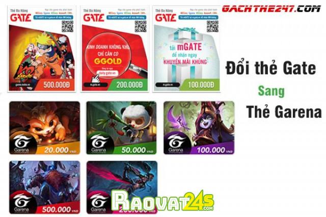 Cách đổi thẻ Gate sang thẻ Garena chiết khấu cực thấp